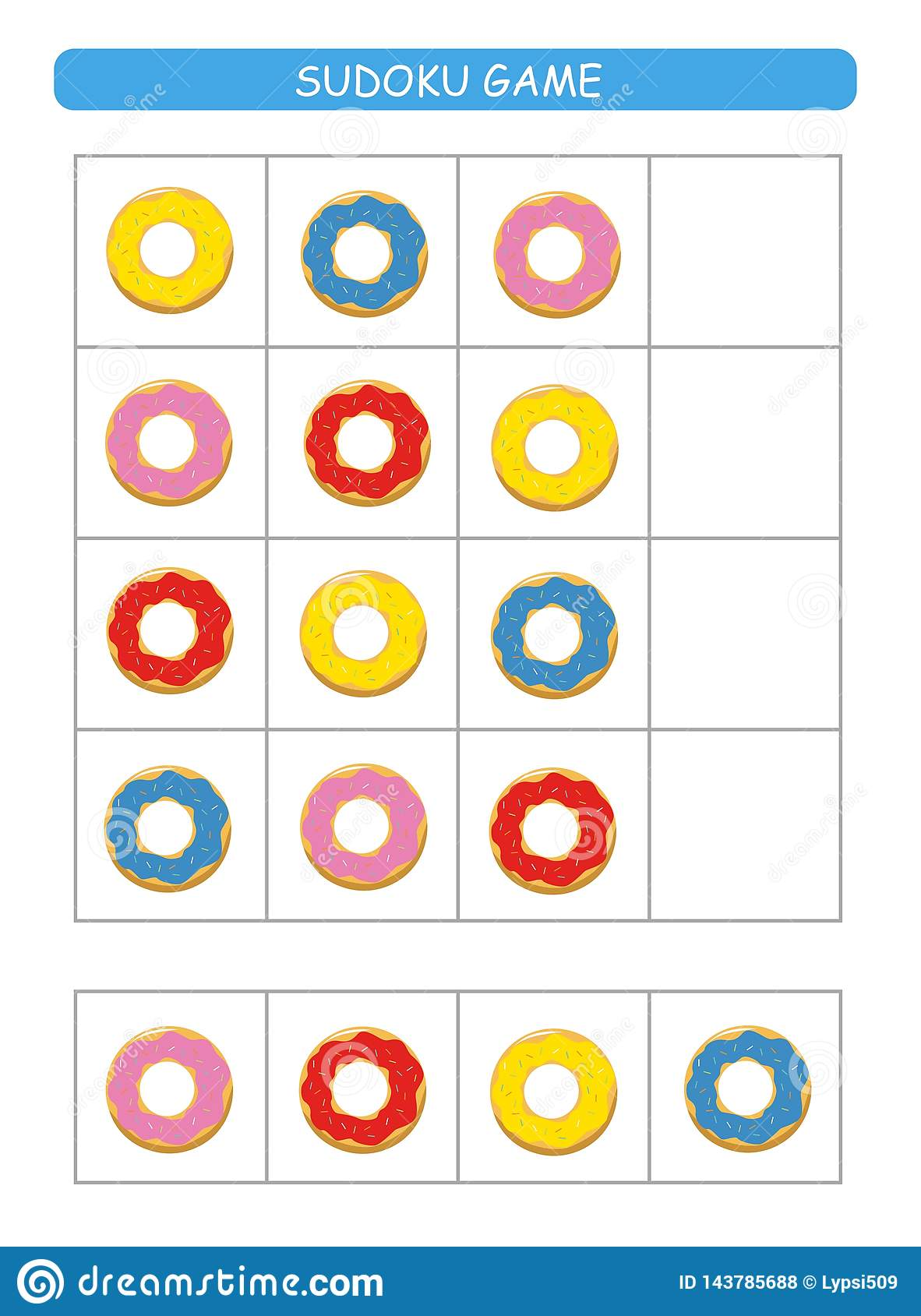 Sudoku for kids. Kids activity sheet. Training logic, educational game. Sudoku game with colorful donuts.