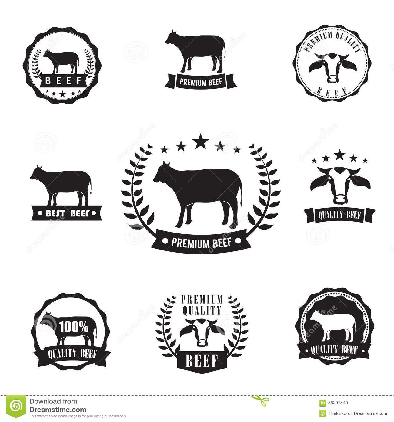 Cow Beef Sihouette Symbol For Logo Stamp, Design Element Stock Vector ...