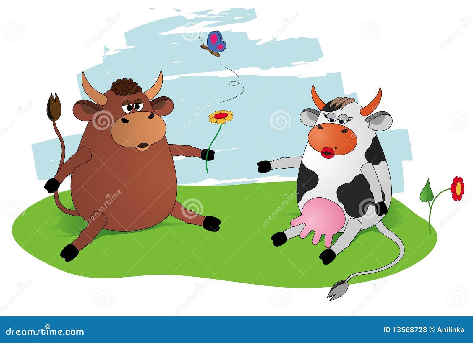 Cow Amp Bull Stock Vector Image Of Gift Fauna Cartoon