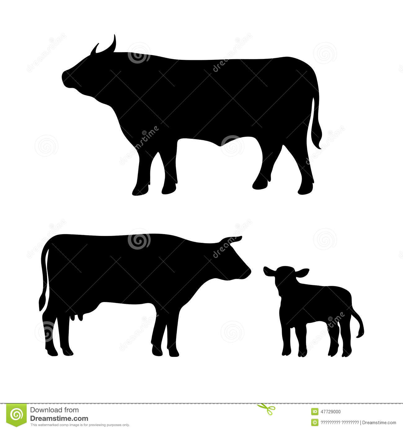 Cow, Bull, Calf Stock Illustration. Image Of Drawing