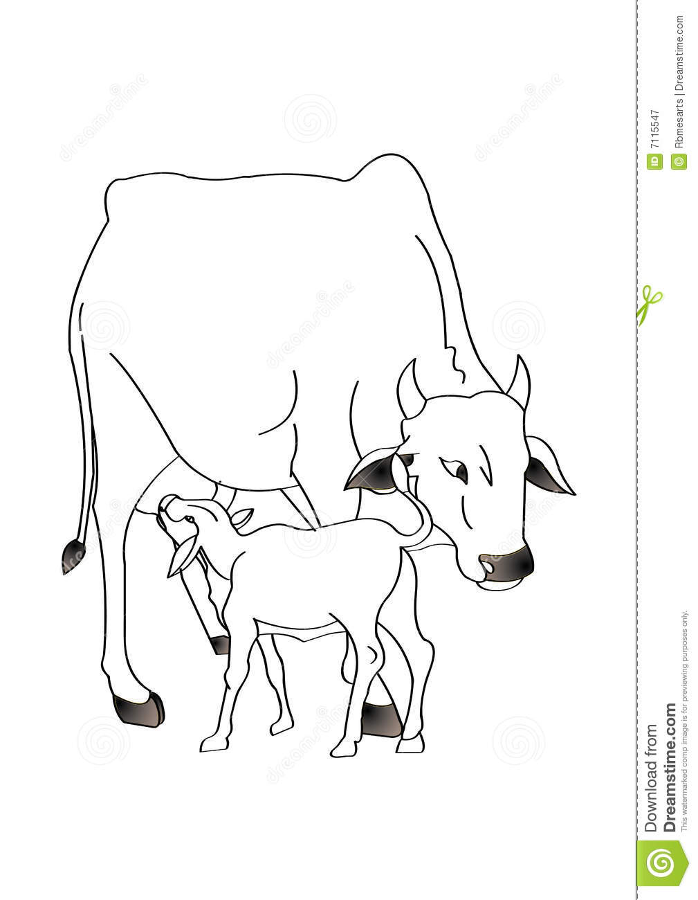 Line Drawing Cow : Cow with calf stock illustration of field