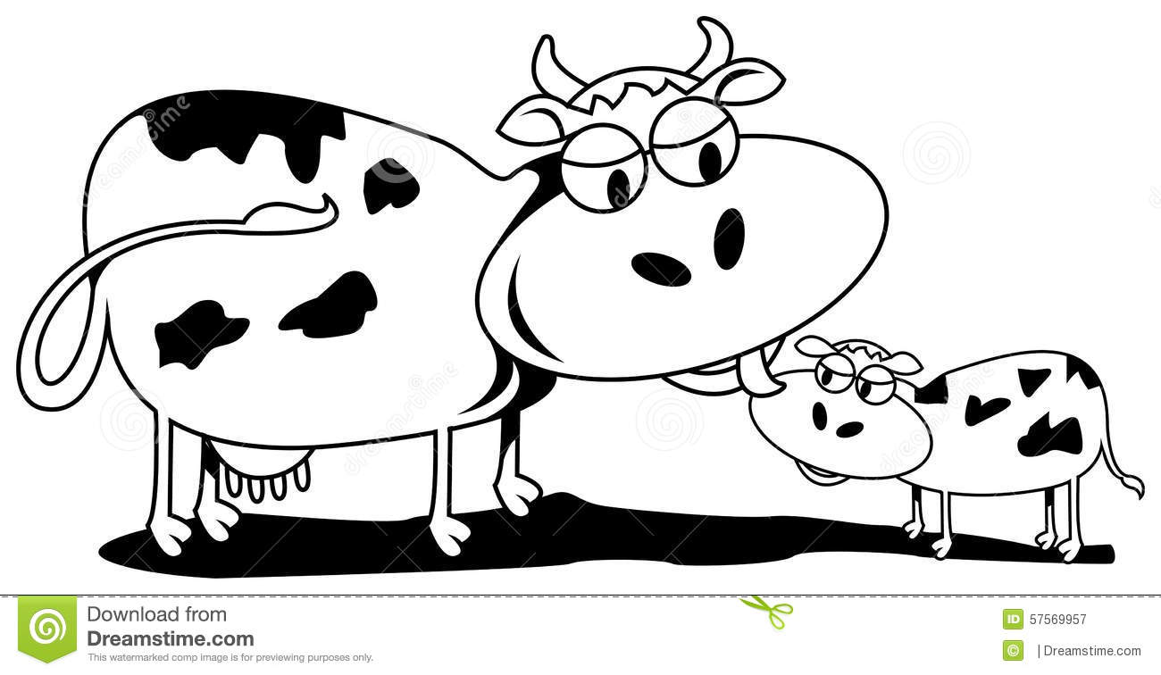 Cow and calf stock vector. Illustration of love, female - 57569957 for Cow And Calf Clipart  303mzq