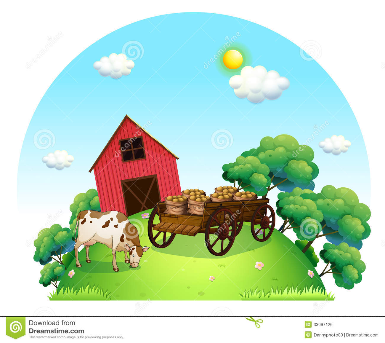 A Cow And A Carriage In Front Of A Barn In The Farm Stock Vector