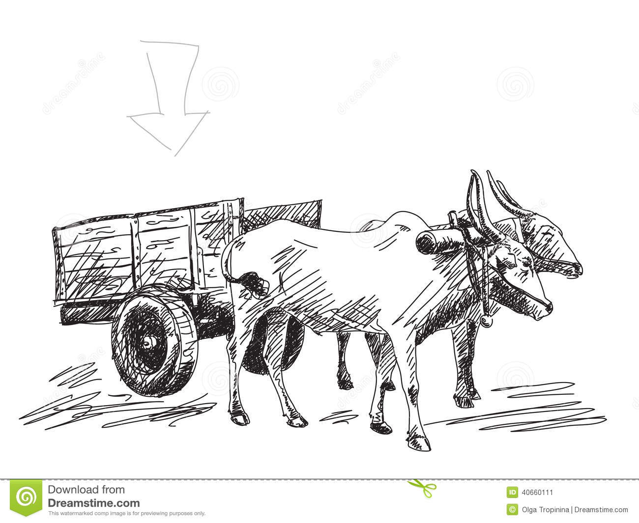 Cow Cart Clipart Cow Carries A Cart Sto...