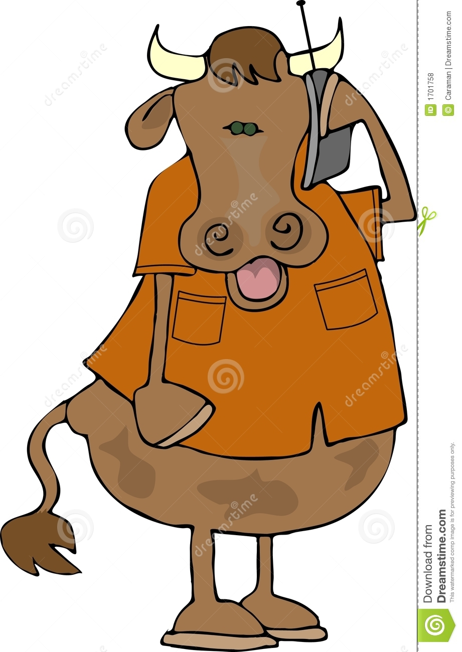 cow on a cell phone royalty free stock photos   image 1701758