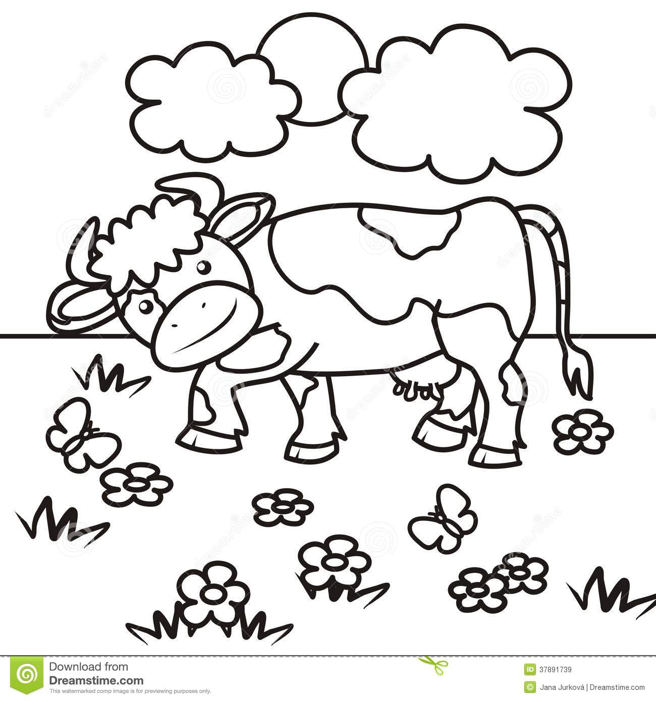 Cow Coloring Book Stock Vector Illustration Of Baby 37891739