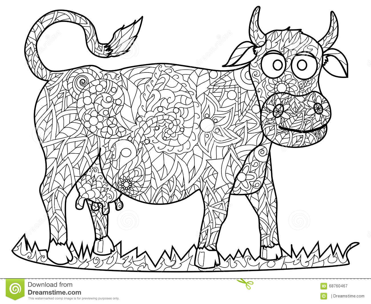 Cow Coloring Vector For Adults Stock Vector Image 68760467