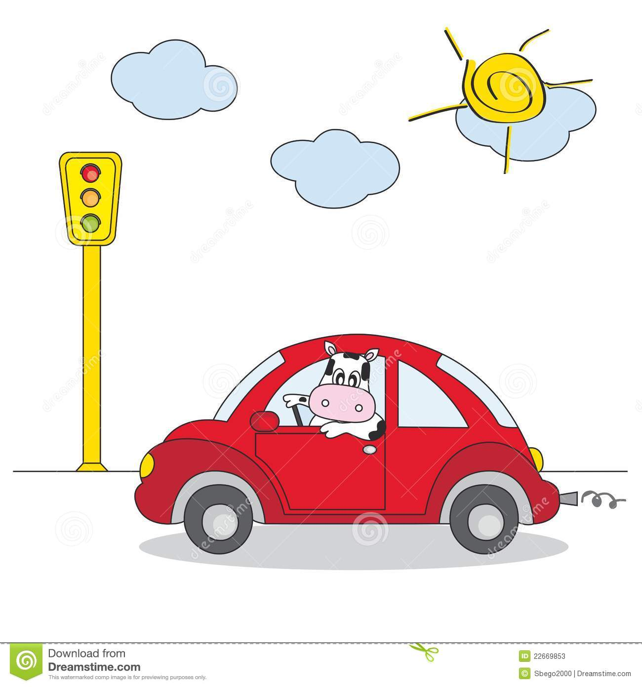 Cow Driving A Red Car Stock Vector Illustration Of Mammal