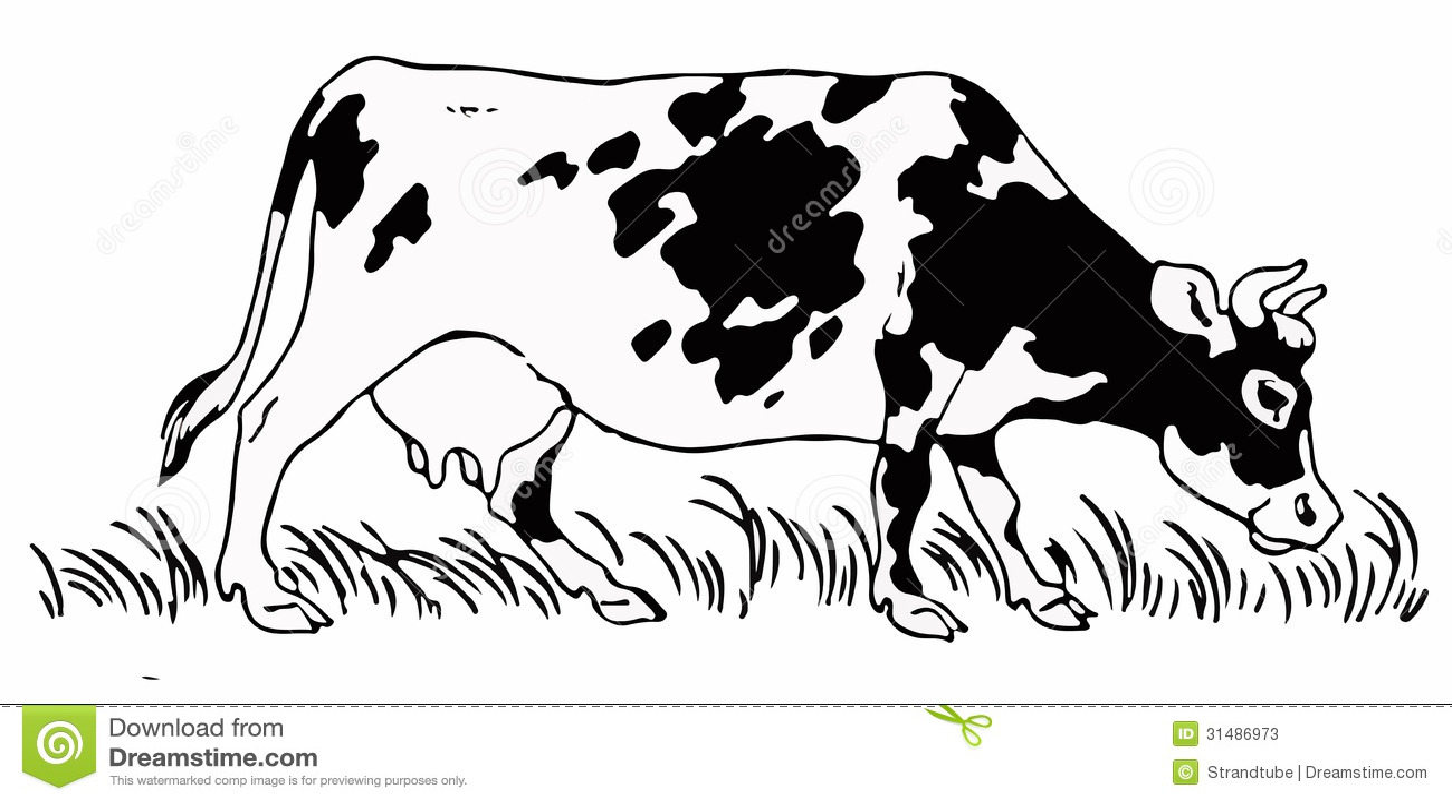 cow   eps vector stock vector image of grass  farm cow eating grass clipart Cow Eating Grass SVG