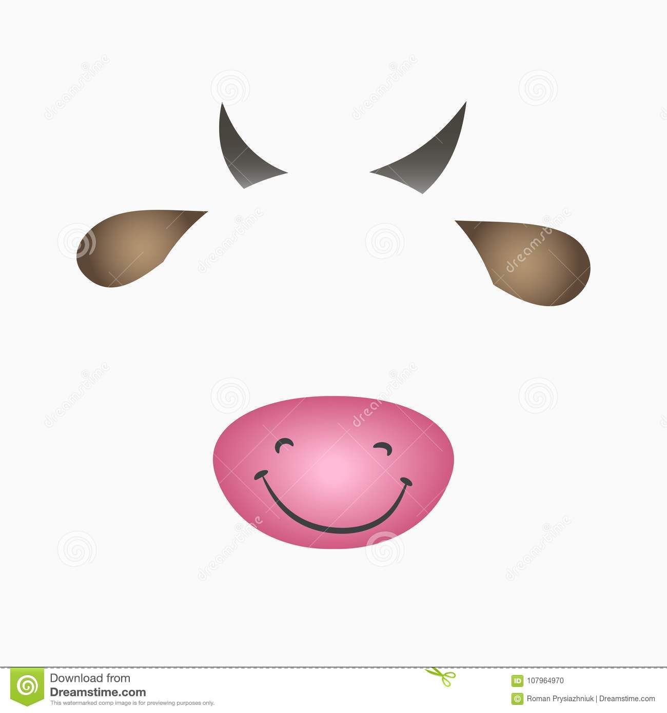Cow face elements ears horns nose and mouth selfie photo and cow face elements ears horns nose and mouth selfie photo and video chart filter with cartoon animals mask vector illustration ccuart Images