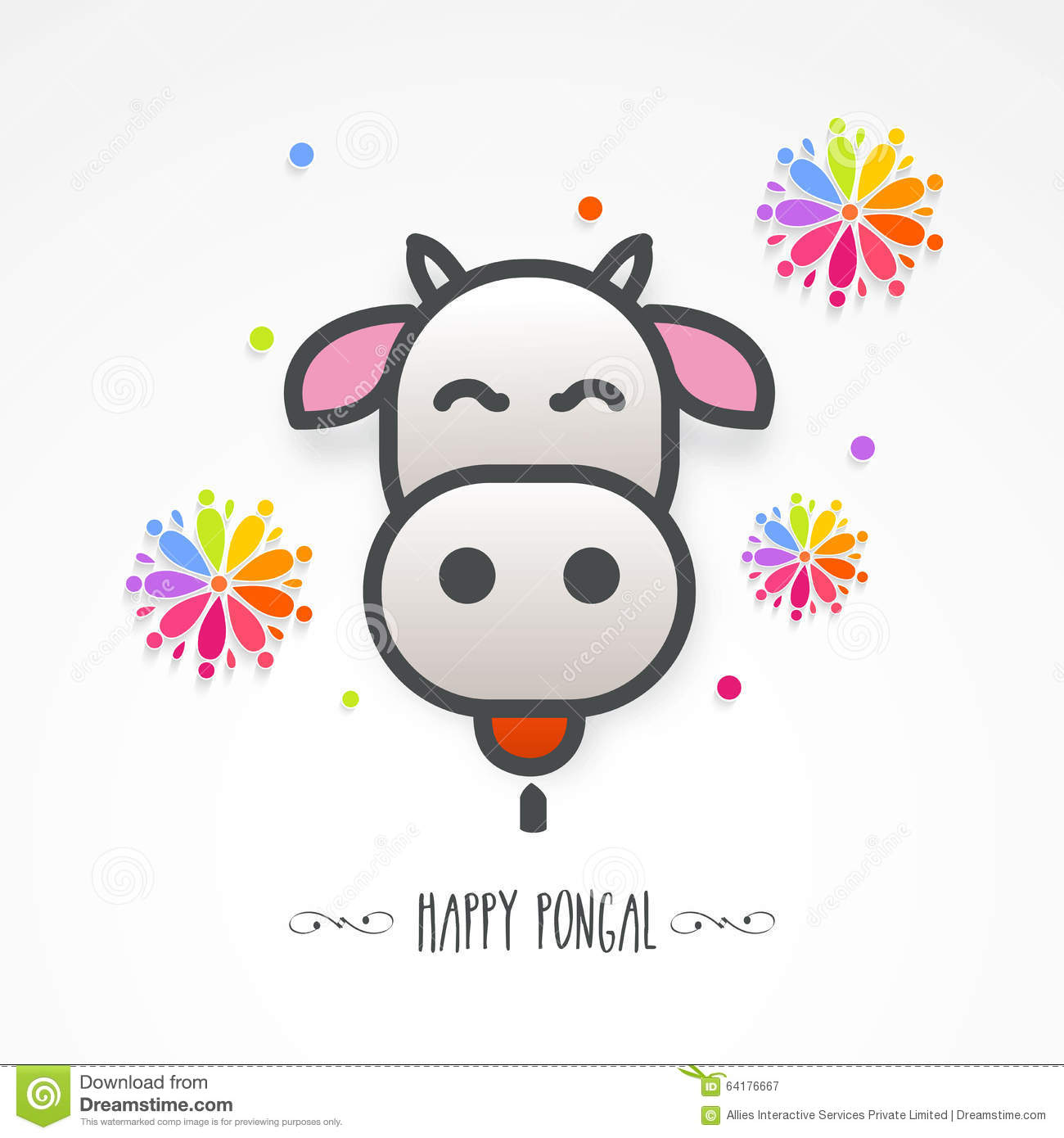 cow face for happy pongal celebration stock illustration image