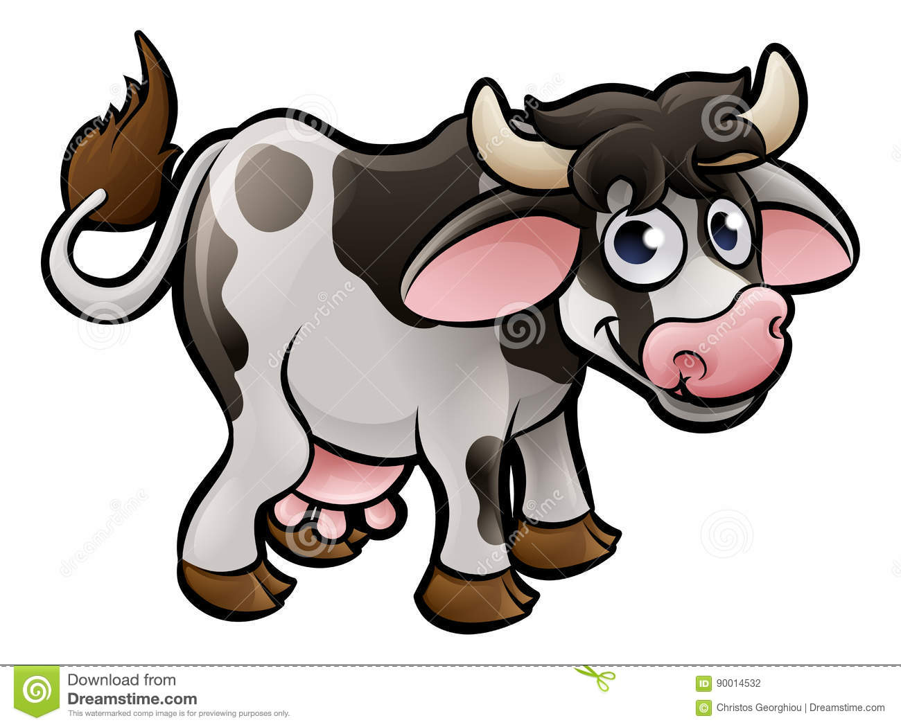 Cow Farm Animals Cartoon Character Stock Vector