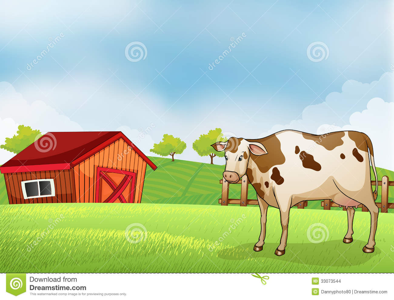 A Cow In The Farm With Barn House Stock Vector