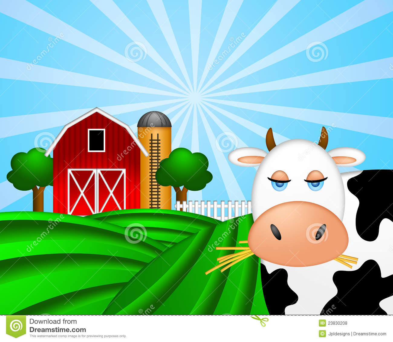 Cow on Green Pasture with Red Barn with Grain Elevator Silo and Trees ...
