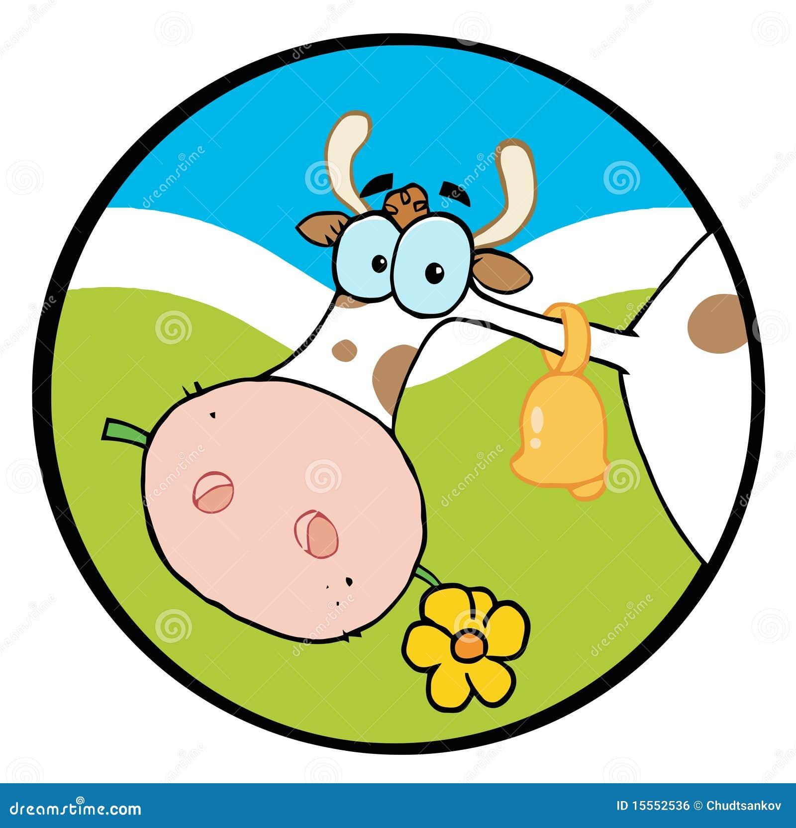 Cow chewing flower cartoon vector cartoondealer