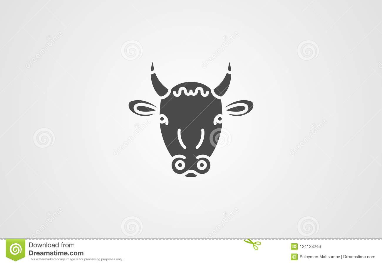 Cow Vector Icon Sign Symbol Stock Vector Illustration Of Label