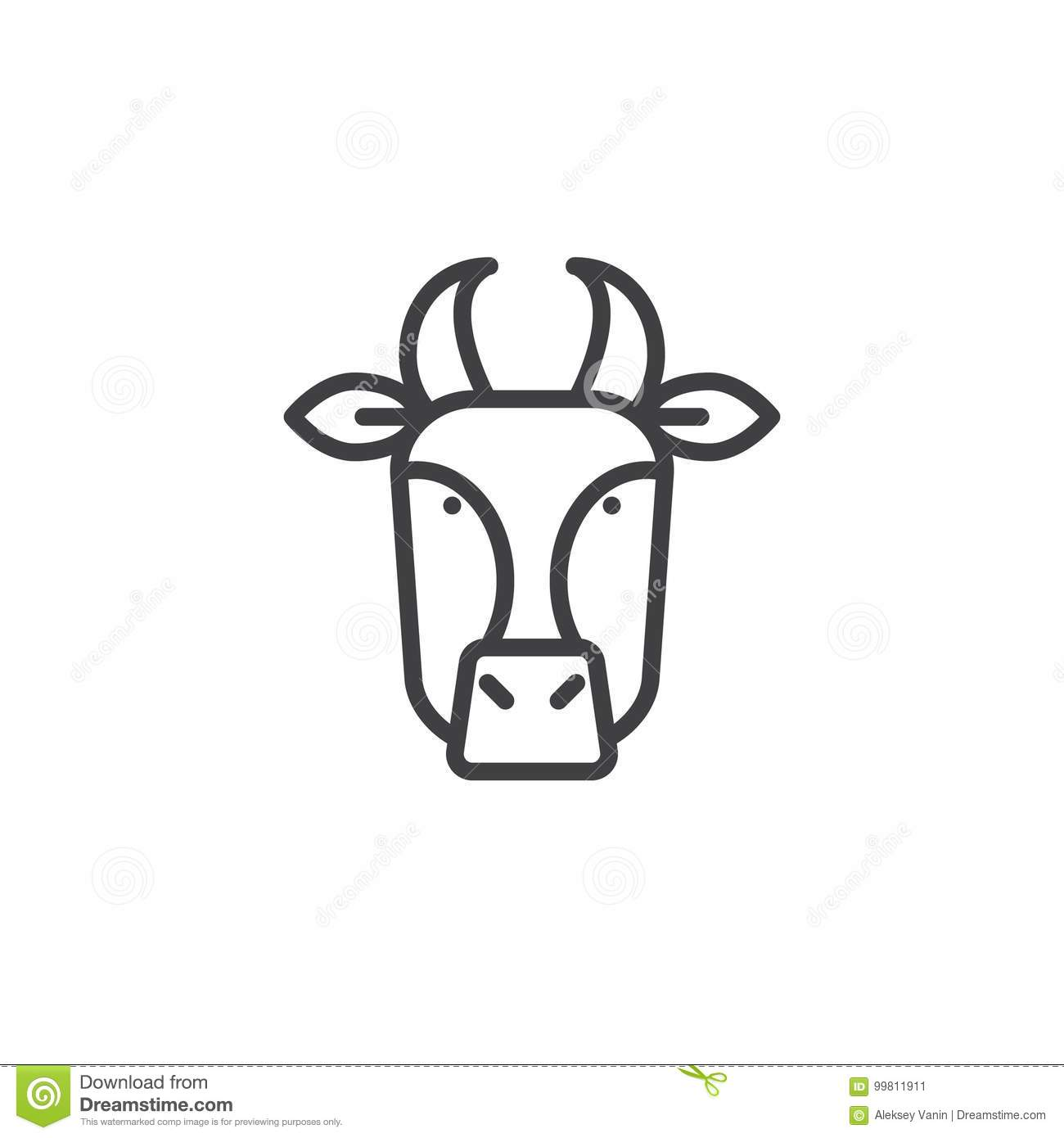 Cow Head Line Icon Stock Vector Illustration Of Mammal 99811911