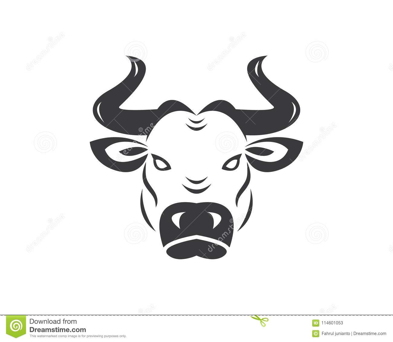 cow head logo vector template stock vector illustration of animal