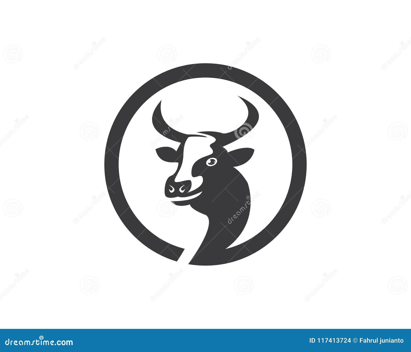 cow head silhouette logo design icon template stock vector