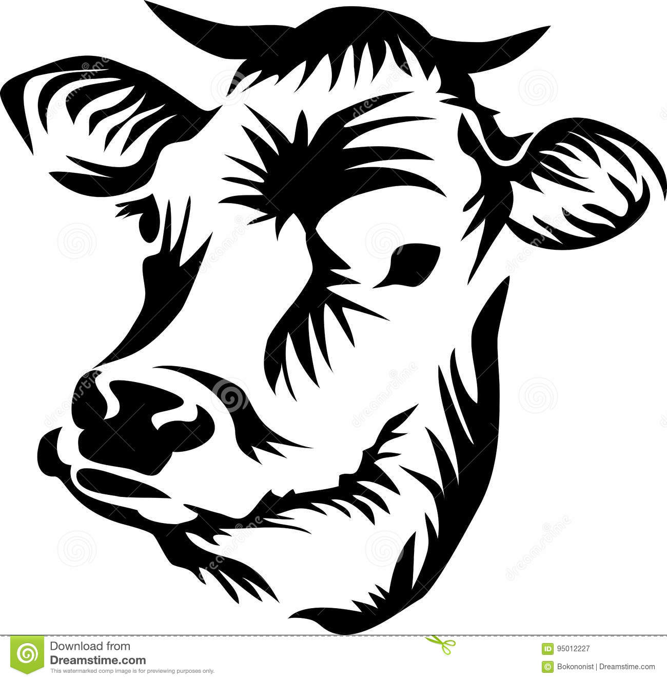 Cow Head Stock Vector Illustration Of Horned Domestic