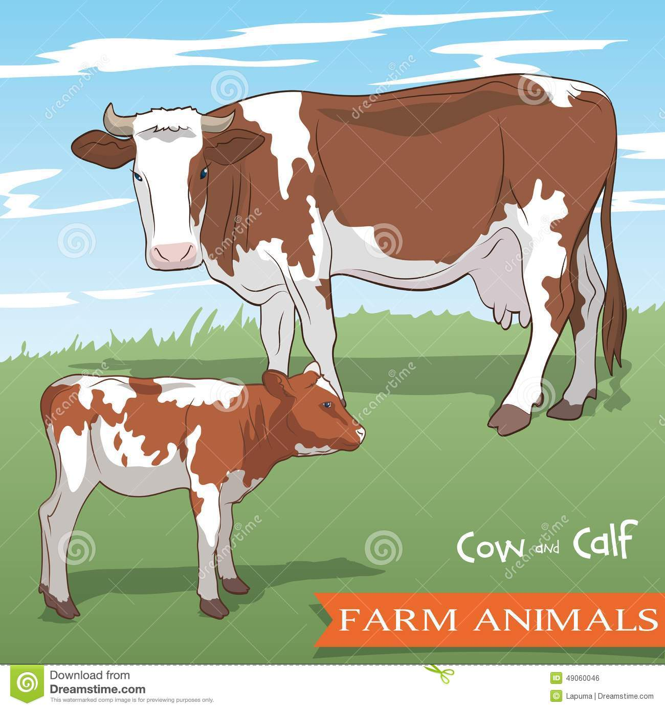 Cow And Her Calf Grazing In The Meadow Stock Vector - Illustration ... for Cow And Calf Clipart  61obs