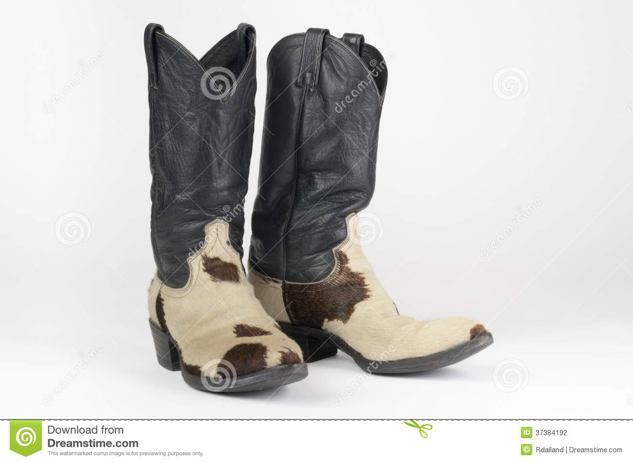 Cow Hide Cowboy Boots. Stock Photography - Image: 37384192