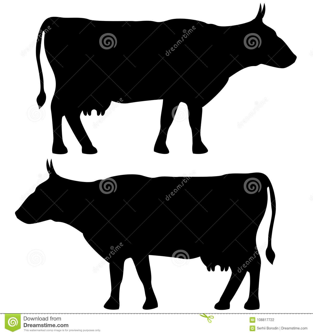 Cow Icon Black Color Set Flat Illustration Stock Vector ...