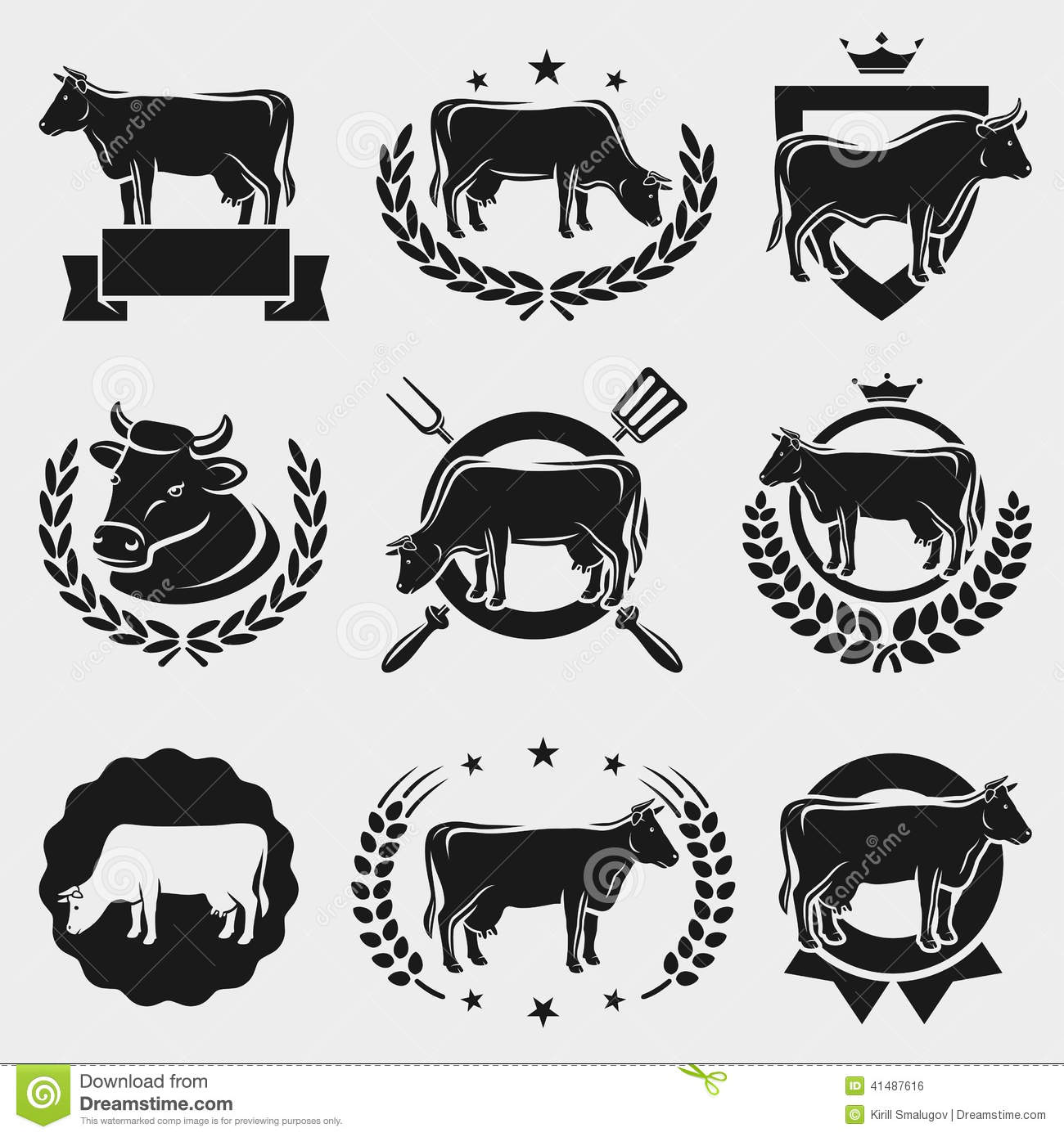 cow labels and elements set vector stock vector image