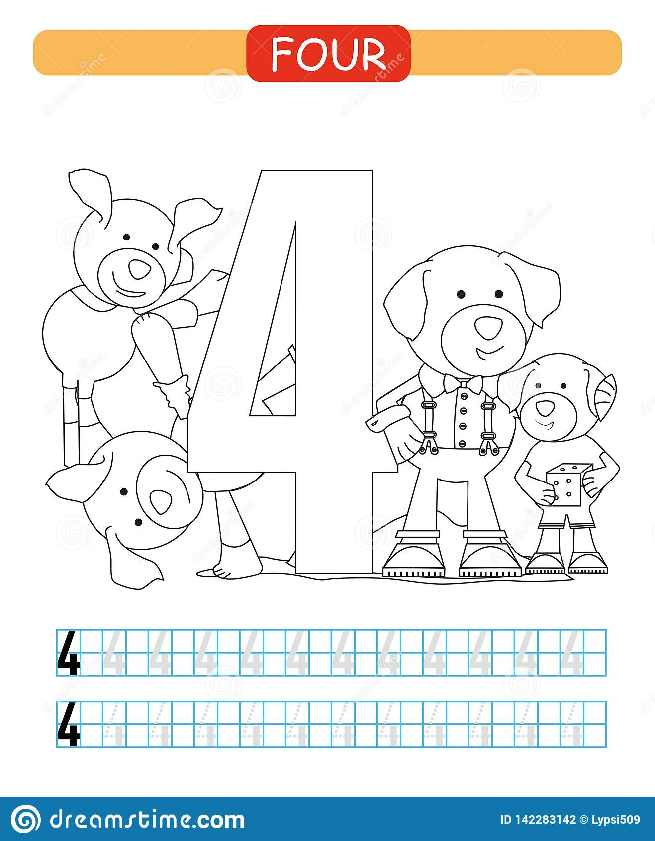 Four. Learning Number 4. Coloring Printable Worksheet For ...