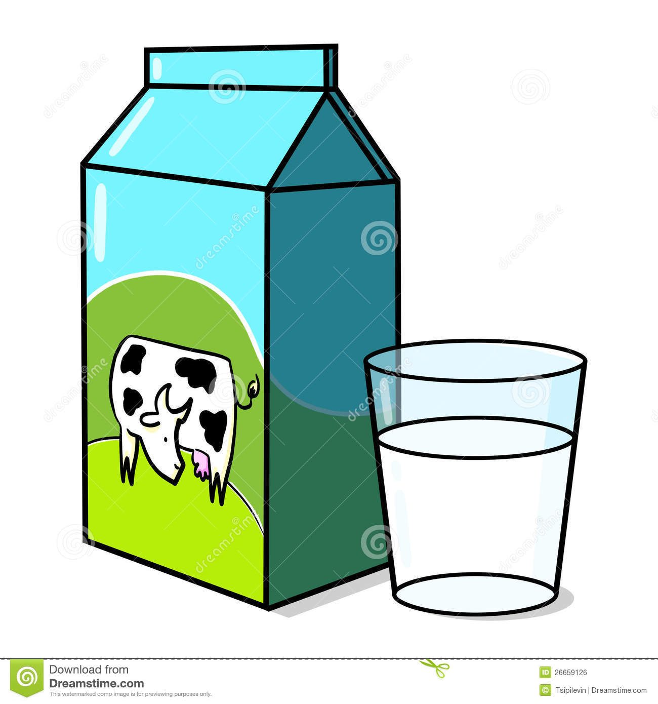 Milk Carton And A Glass Of Milk Illustration Royalty Free Stock Image ...
