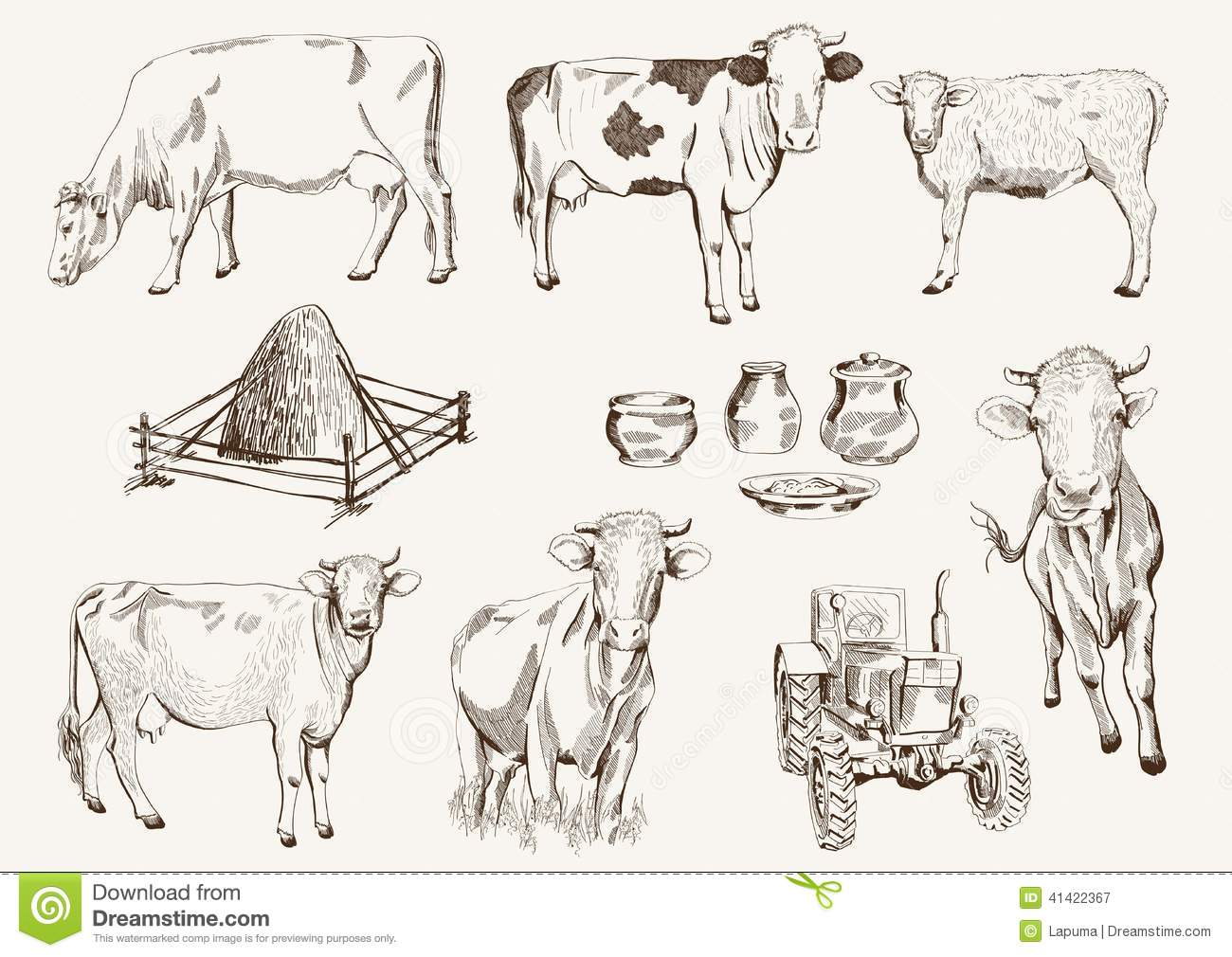 Cow And Milk Products Stock Vector - Image: 41422367