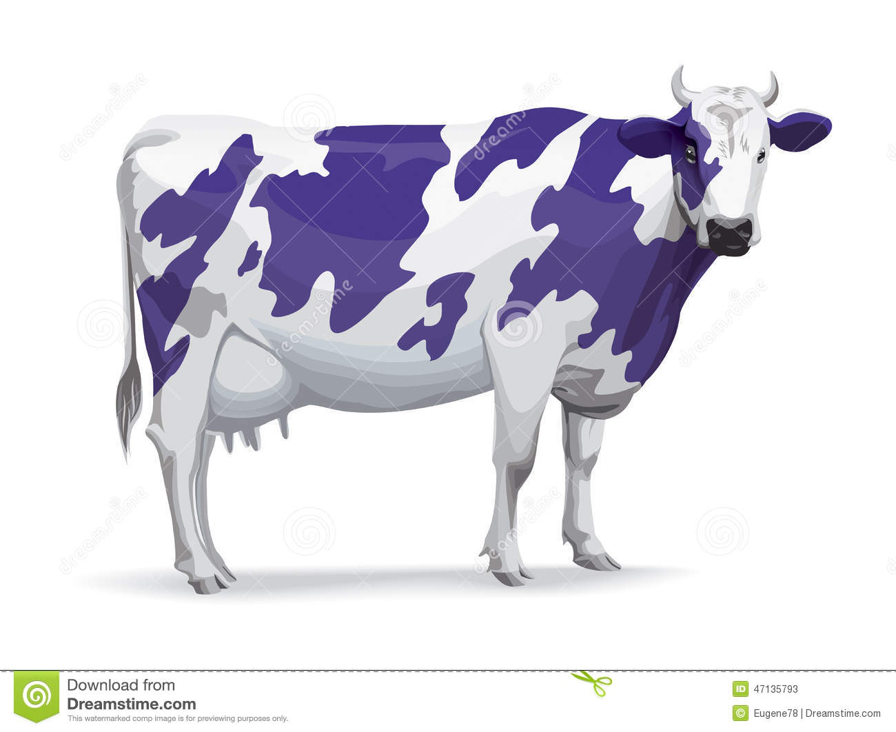 Cow In Milka Style Stock Vector Image 47135793