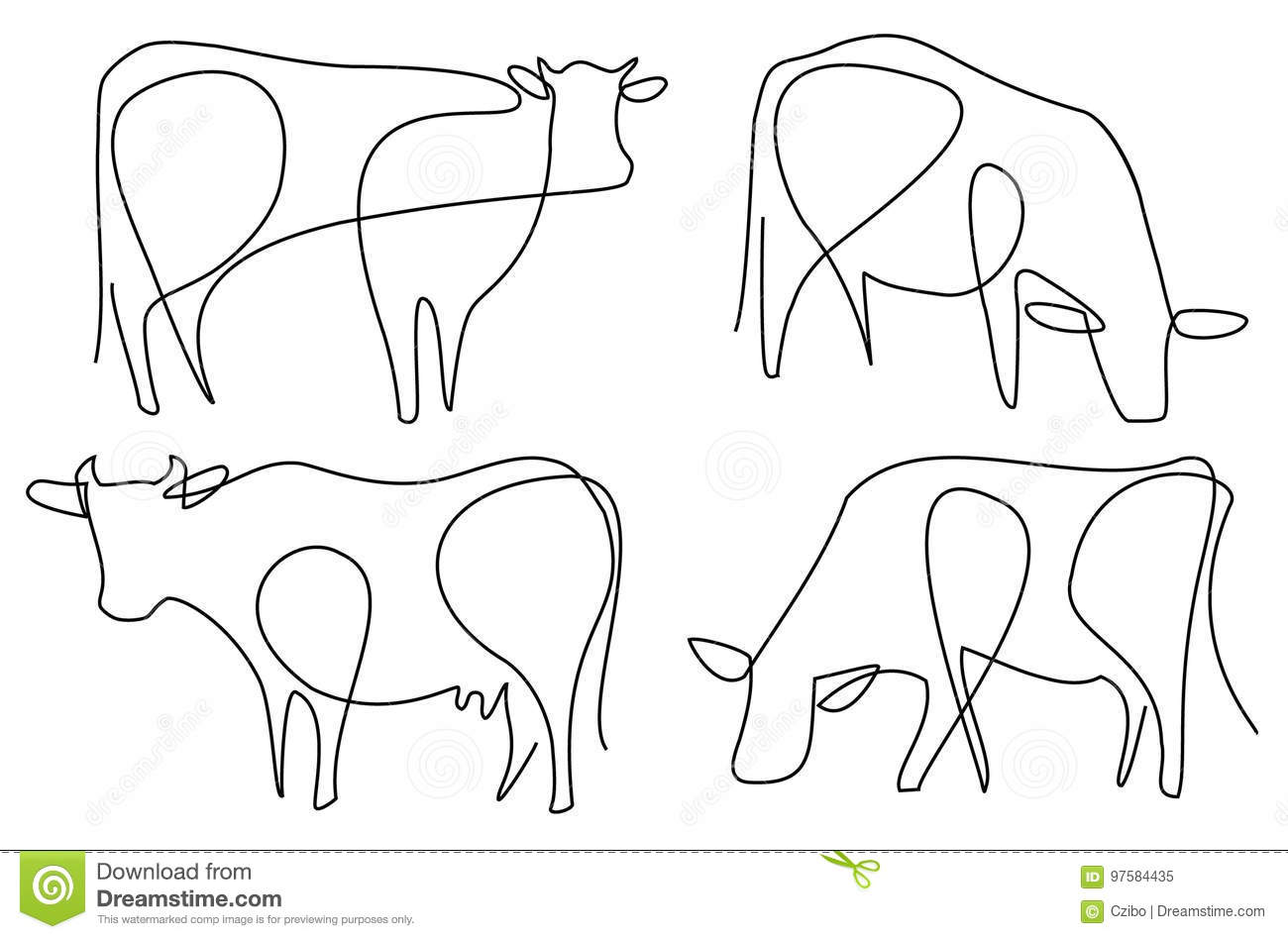 Line Drawing Software Free Download : Cow cartoons illustrations vector stock images