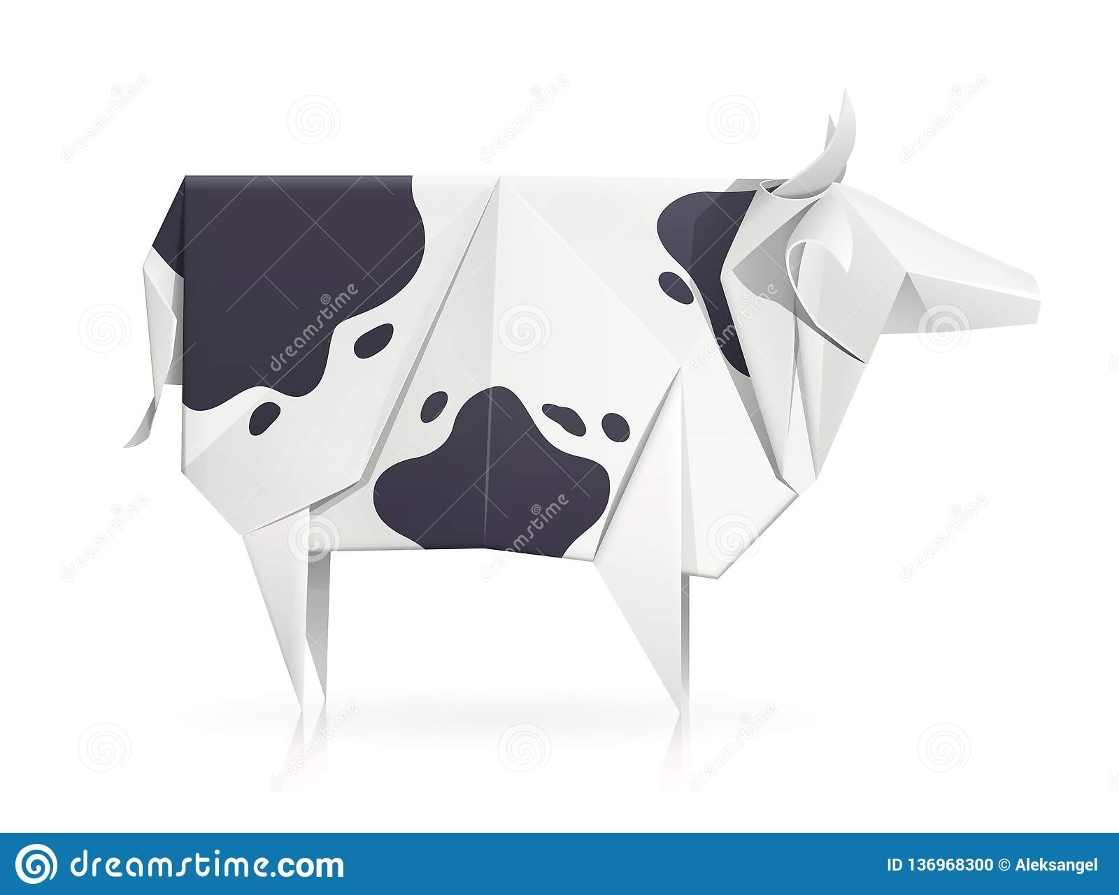 Cow. Paper origami toy. Handmade product.