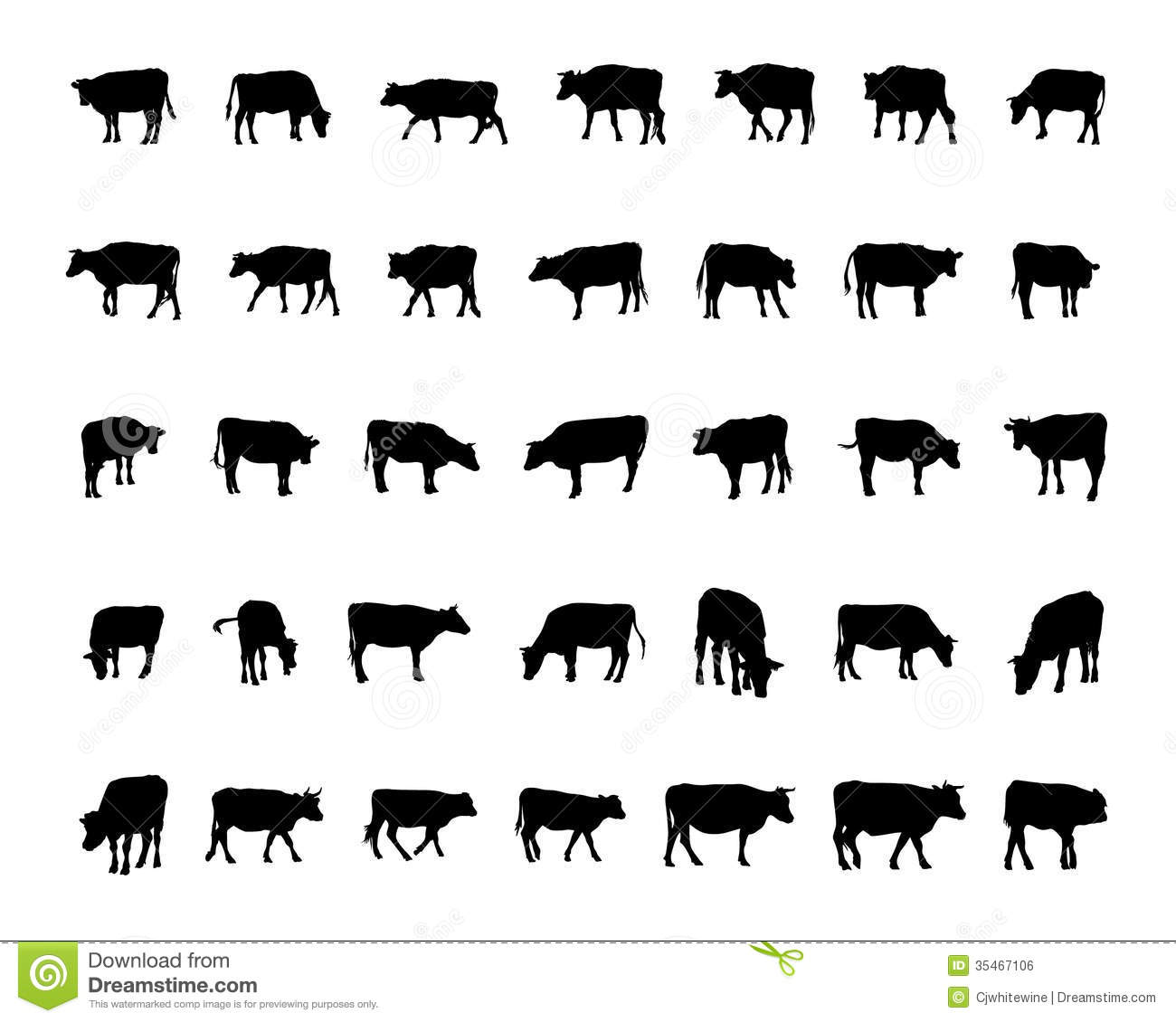 Cow Silhouettes Royalty Free Stock Image