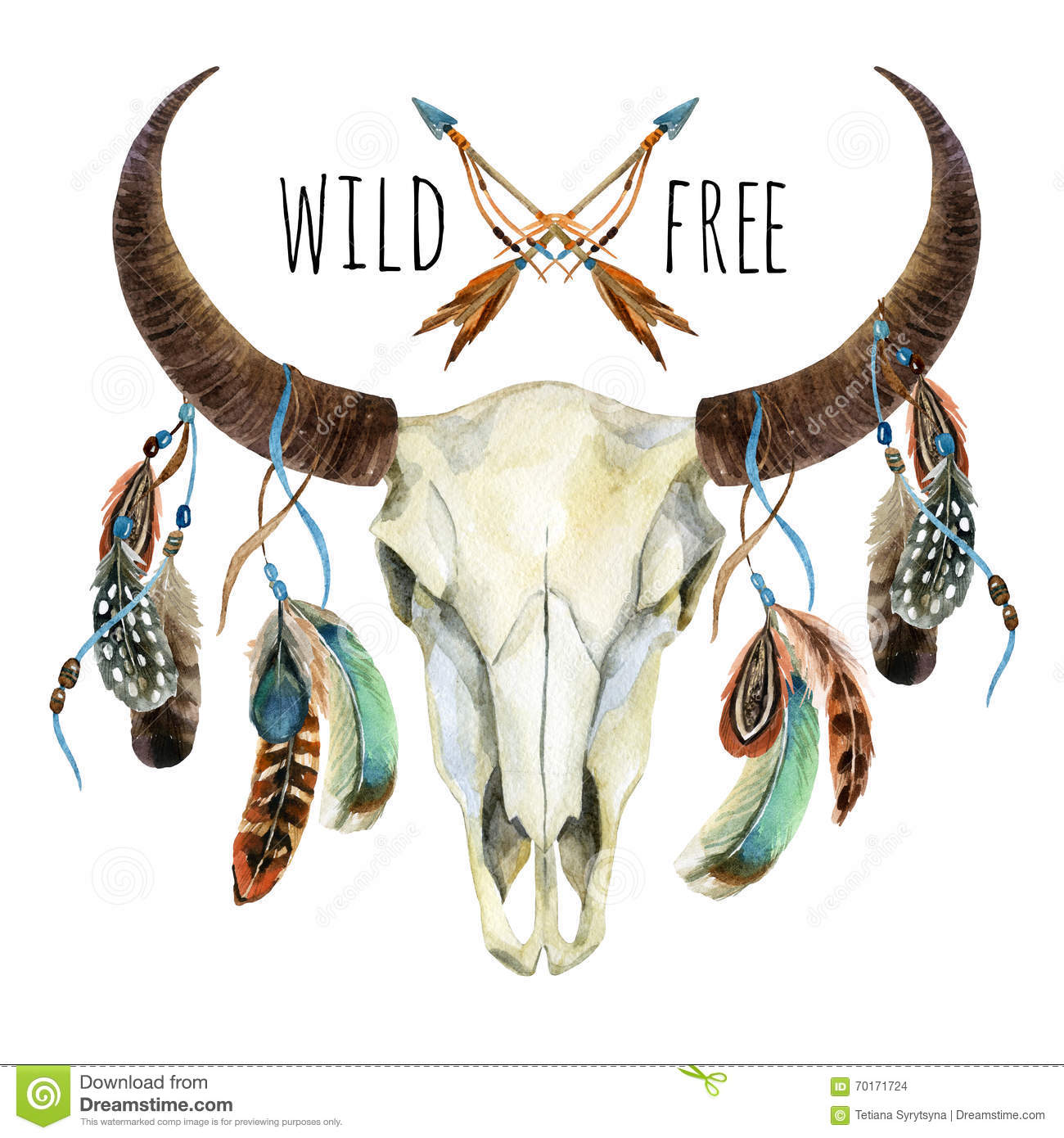 Cow skull animal skull with feathers stock illustration for Wild design