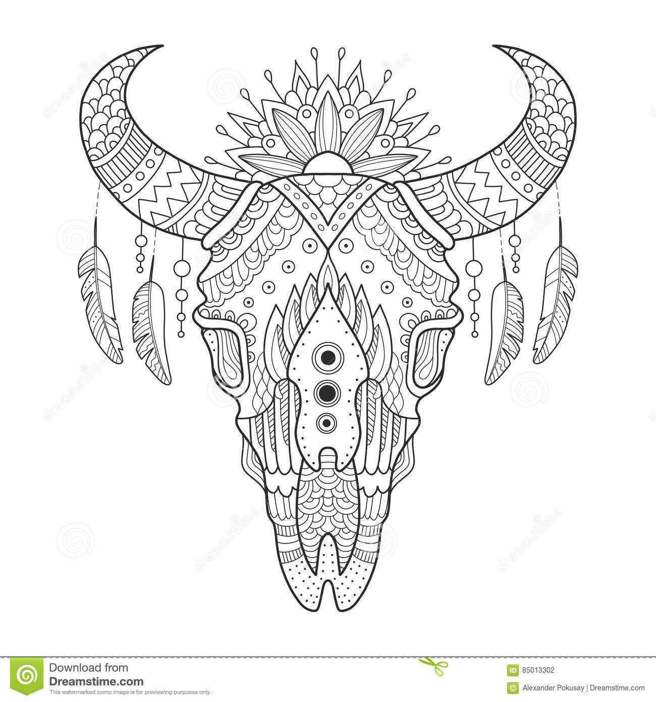 Cow Skull Coloring Book Vector Illustration Anti Stress For Adult Tattoo Stencil Black And White Lines Lace Pattern