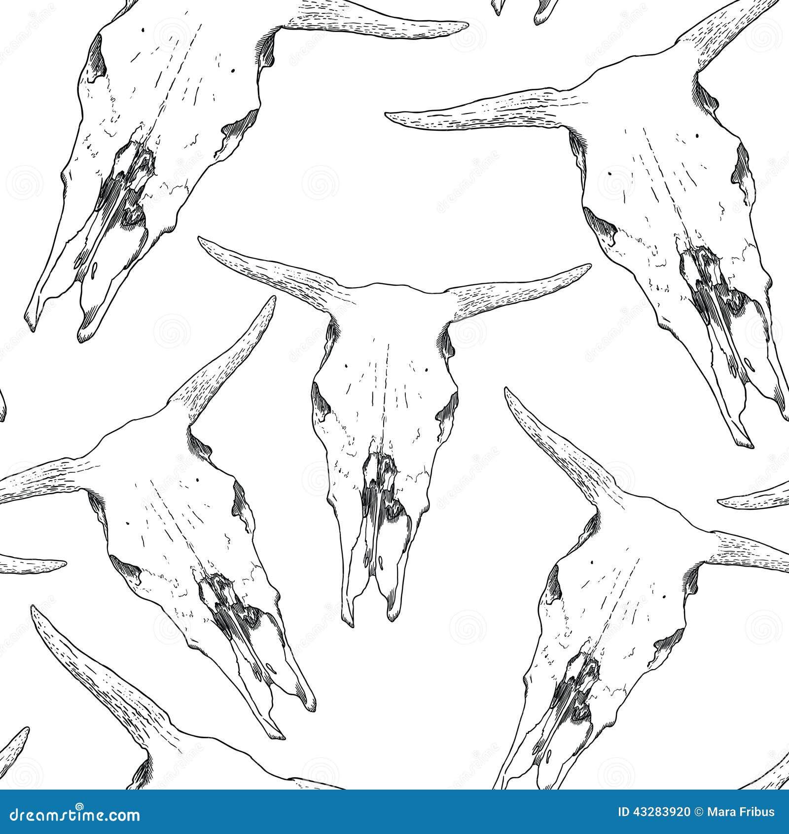 Download Cow skull pattern stock vector. Illustration of bones - 43283920