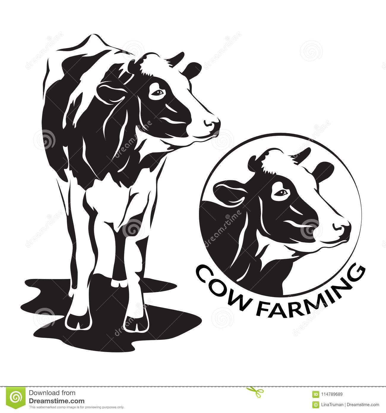 Cow Stylized Symbol And Cow Head Portrait Farm Animal Stock Vector