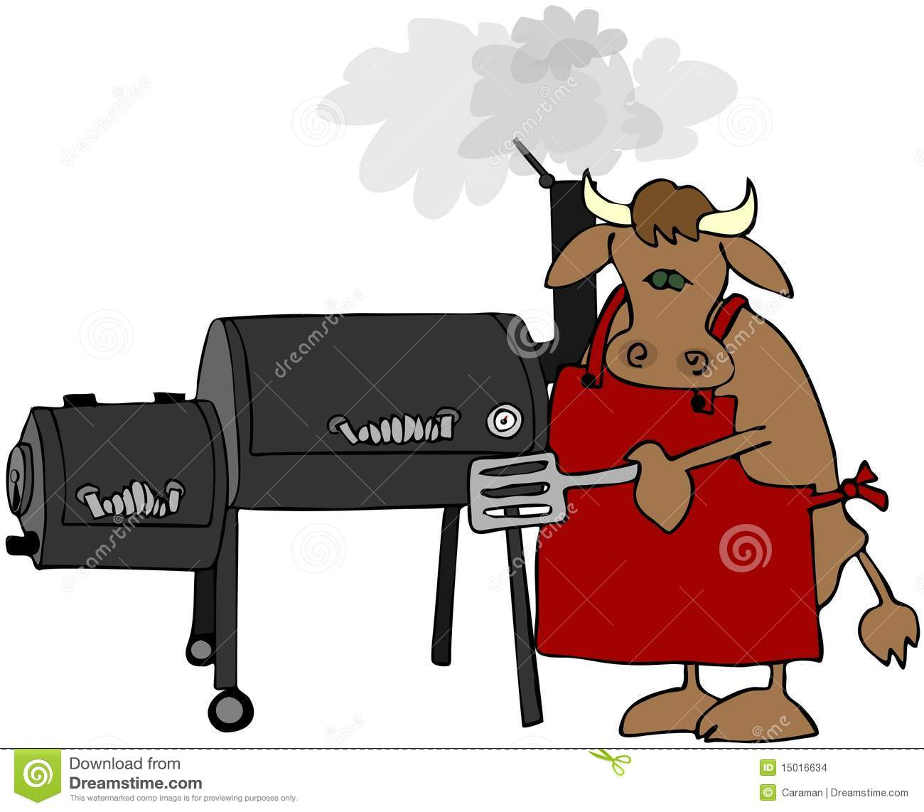 Cow Cooking On A Smoker Grill Royalty-Free Illustration ...