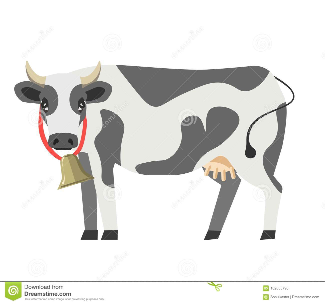 Cow Vector Flat Isolated Icon Milk Dairy Product Design Template