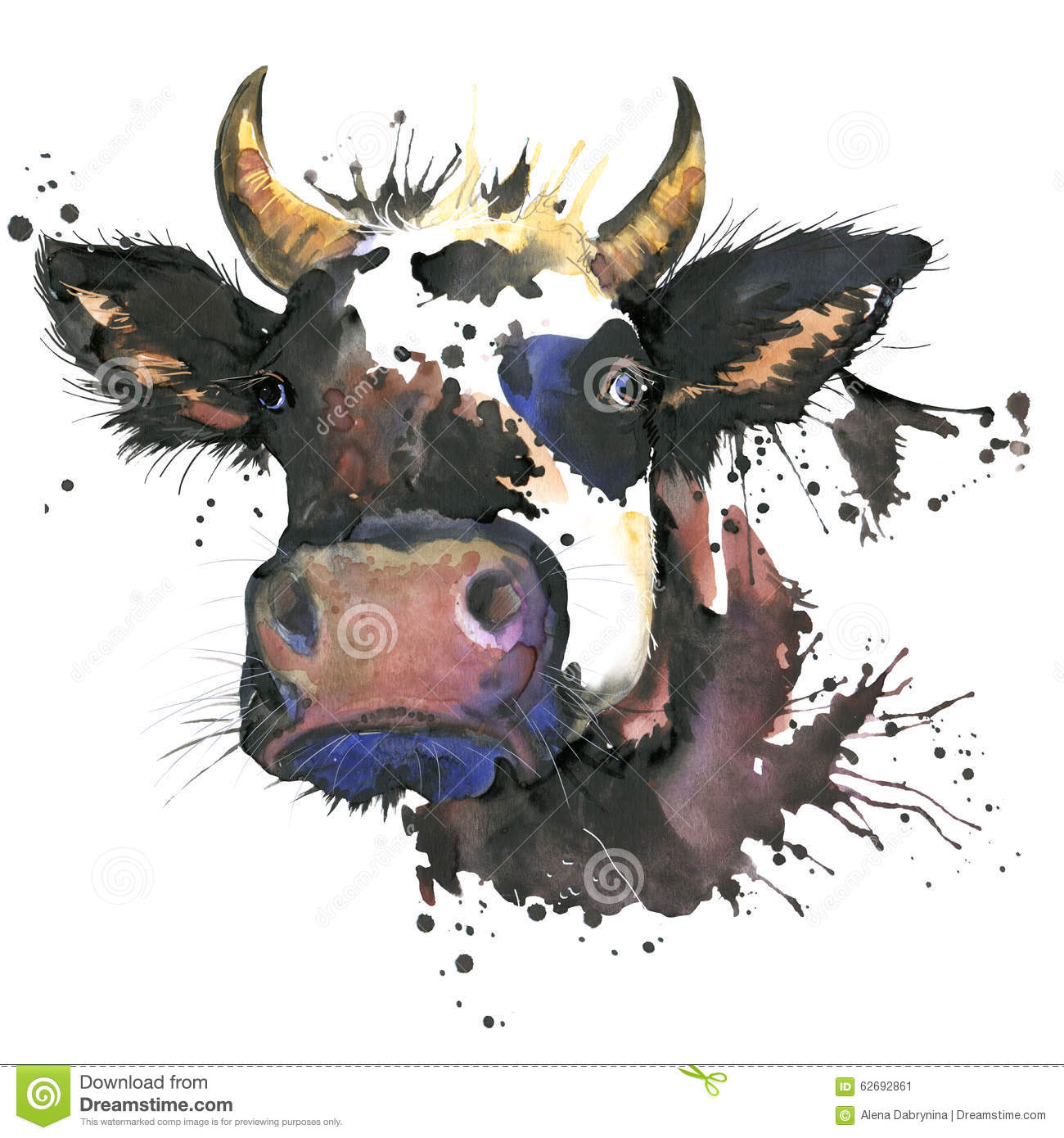 Cow watercolor graphics. cow animal illustration