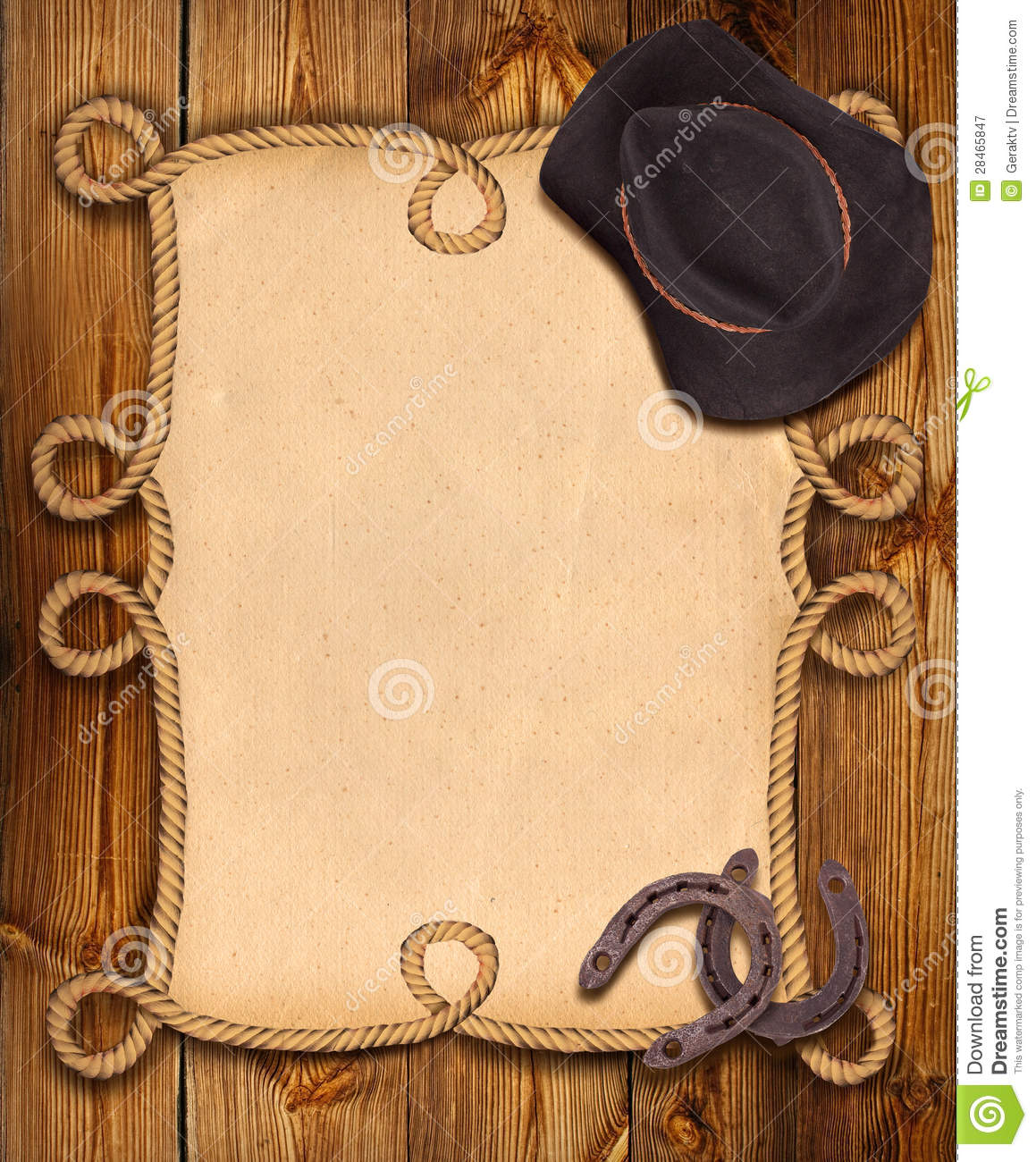 Cowboy Background With Rope Frame And Western Clothes ...