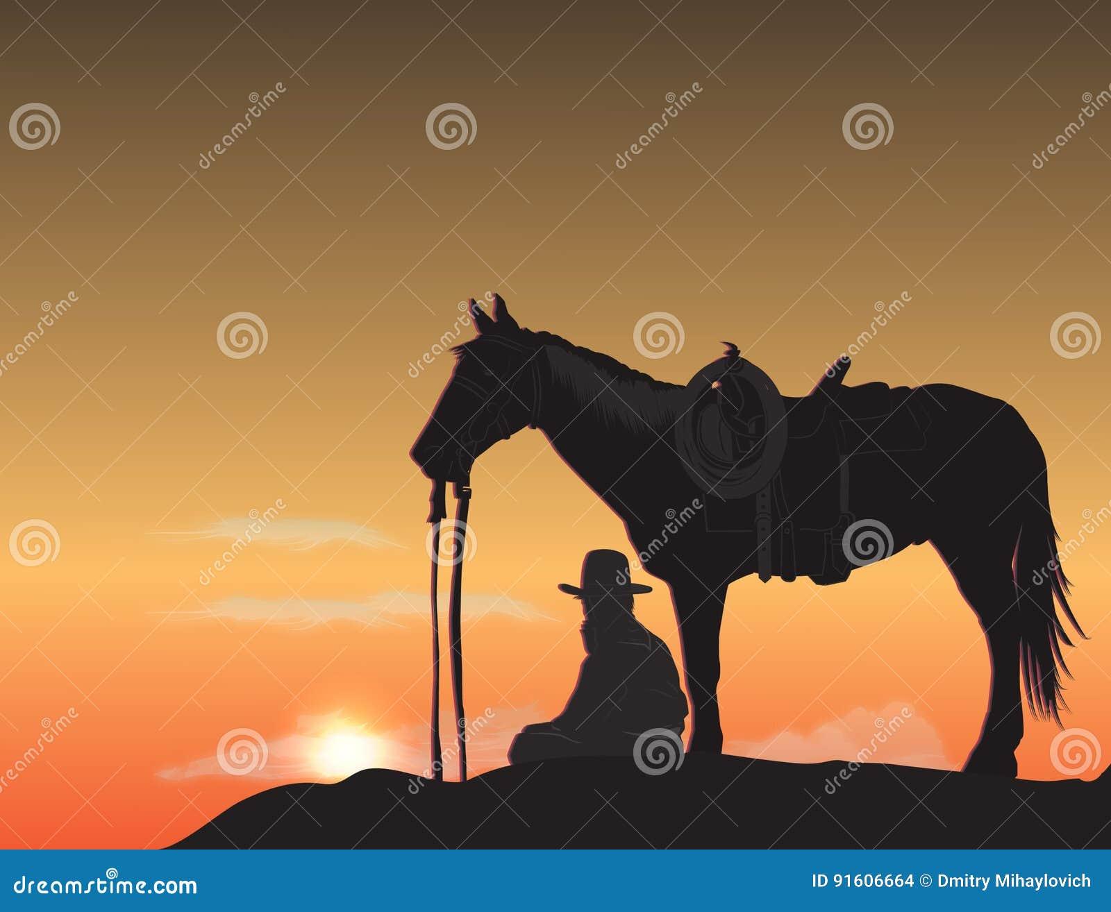 Cowboy bij zonsondergang