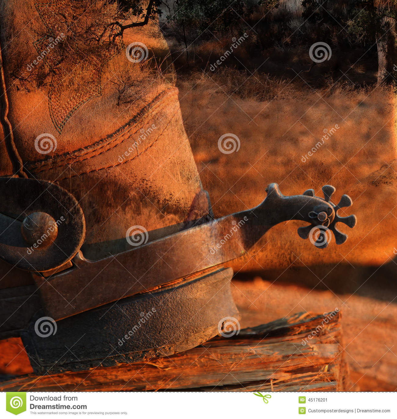 Download A cowboy boot and spur. stock image. Image of background - 45176201