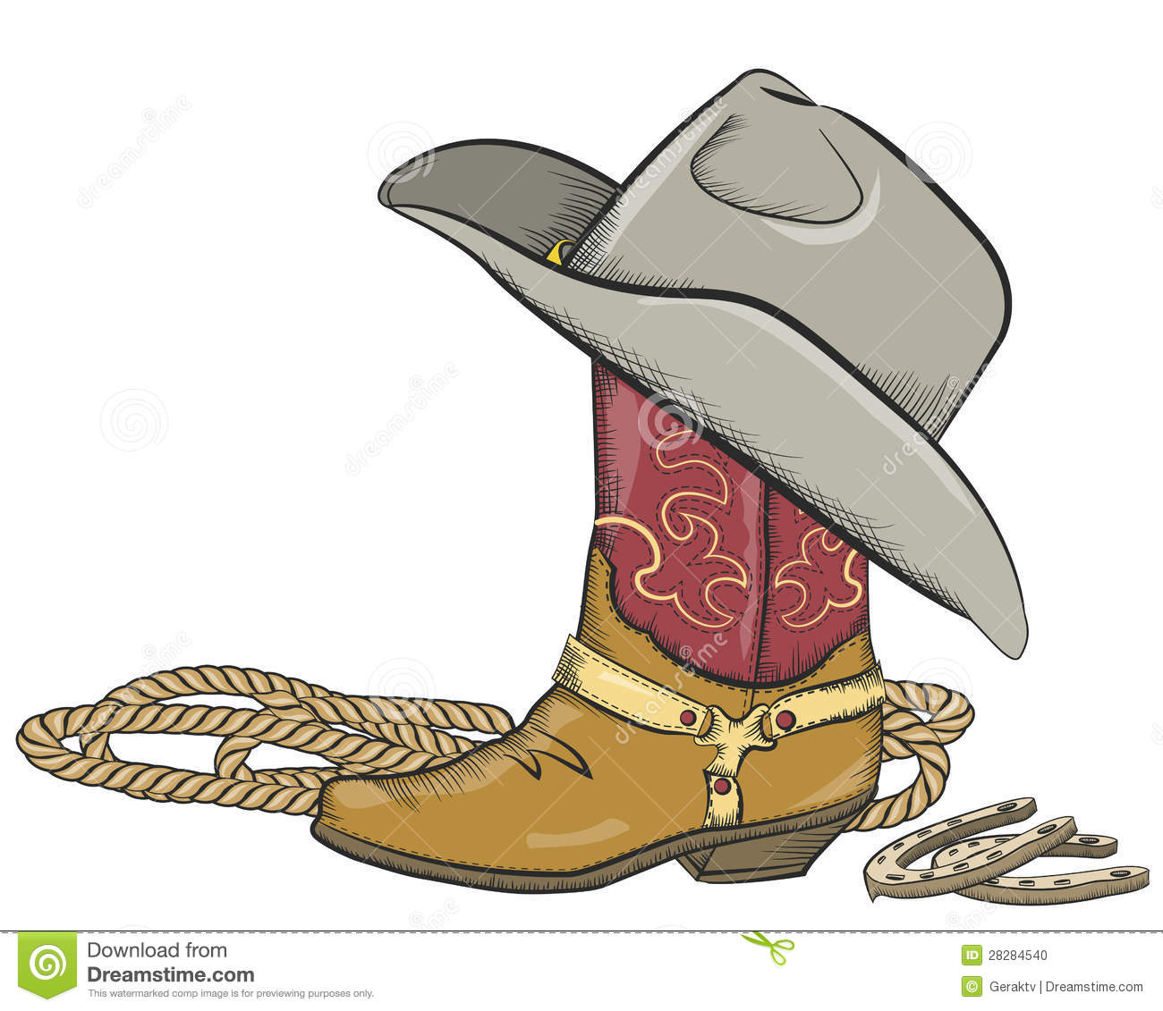 cowboy boot with western hat isolated on white stock clip art cowgirl boot free Cowgirl Boots Drawing
