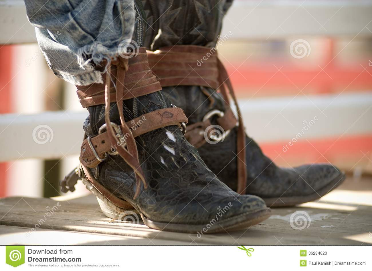 Cowboy Boots Brown Leather Rodeo Rider Stock Photo Image