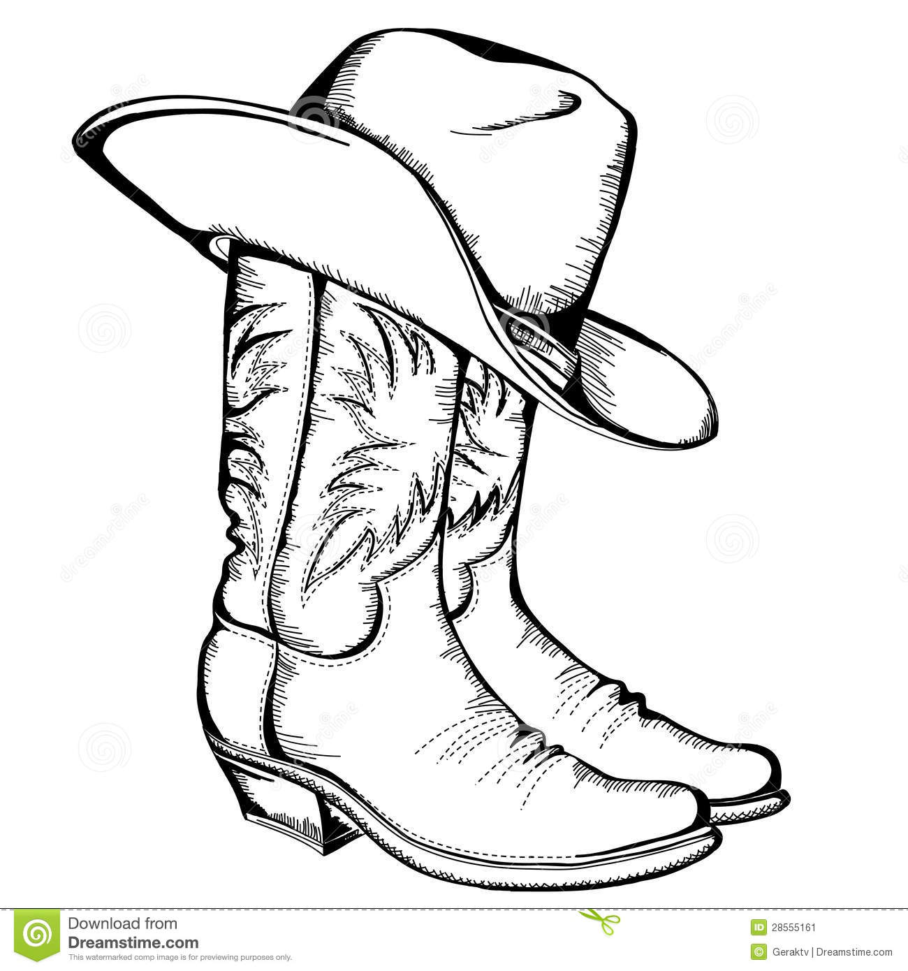 Cowboy boots and hat. stock vector. Illustration of boots ...