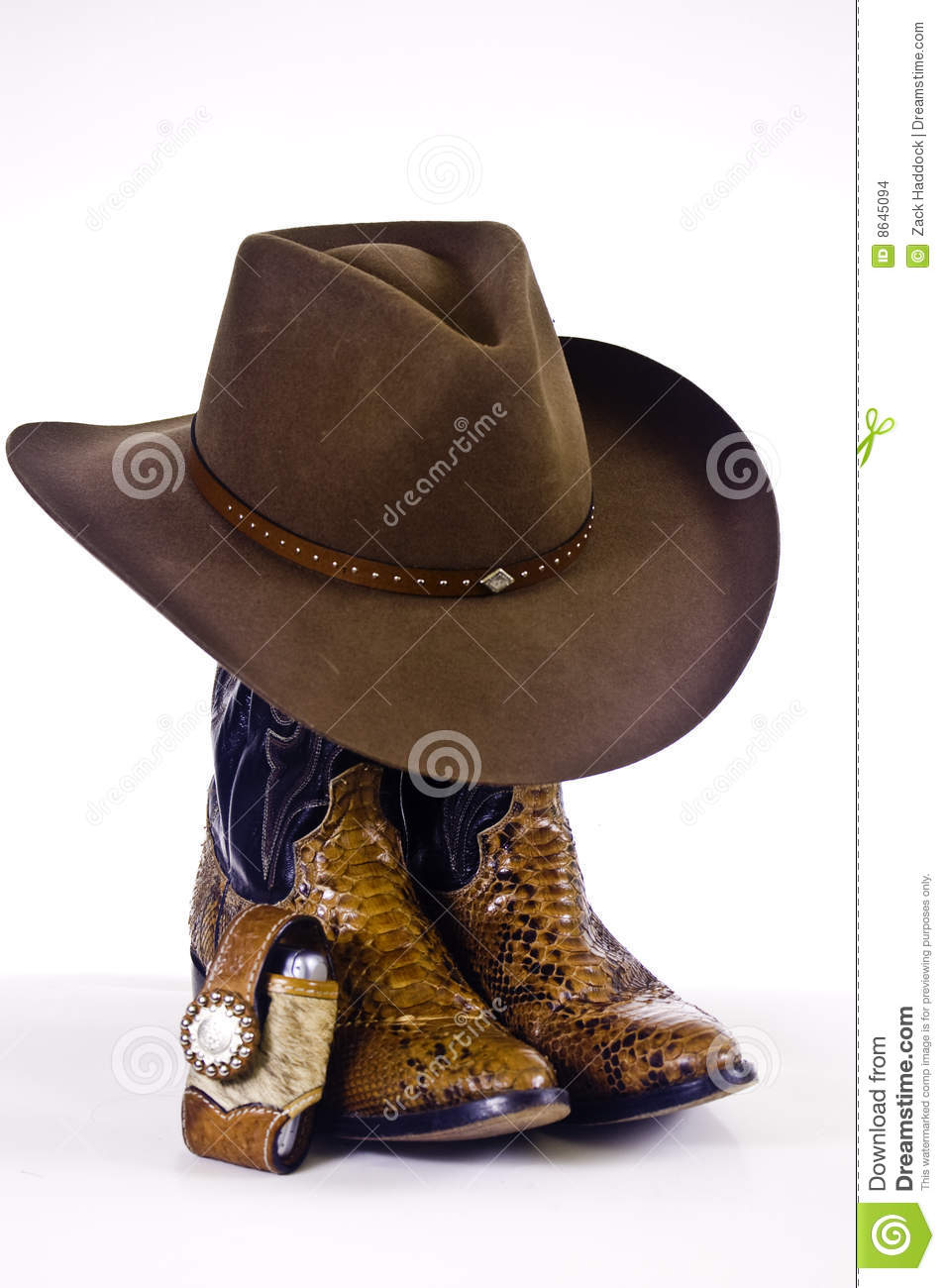 Cowboy Boots And Hat Stock Photo Image Of Brown Leather