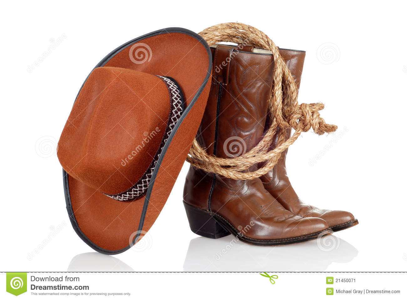 Cowboy Boots Hat And Lasso Stock Image Image 21450071